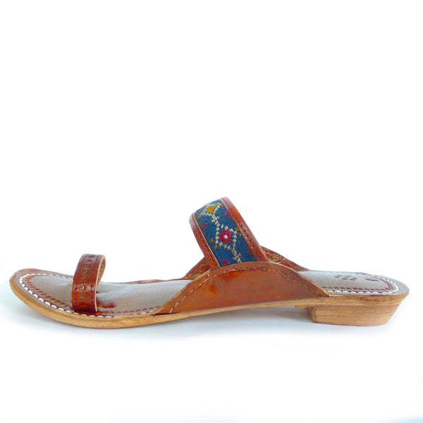 hand made embroidered leather sandals in blue