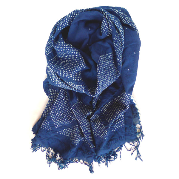 Hand Dyed Starry Night Scarf - Indigo Diamonds