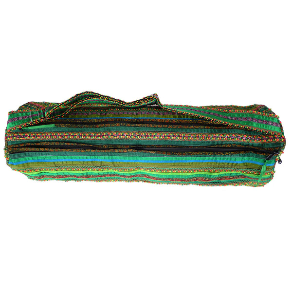 hand appliquéd yoga mat bag in green