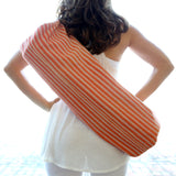 Yoga Bag - 1-Zip Style - Handwoven in Peach Stripes
