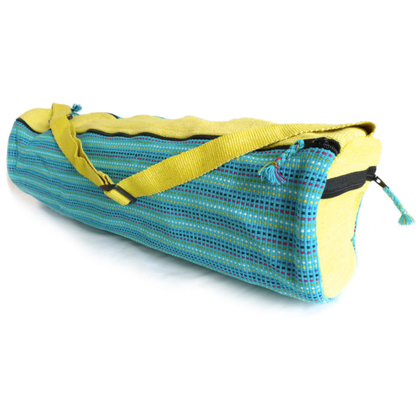 Yoga Bag - 2 Zip Style - Handwoven in Bright Turquoise