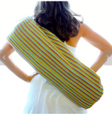 Yoga Bag - Handwoven in Turquoise, Mauve, Yellow Stripes