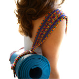 hand appliquéd ribbon finish yoga mat sling