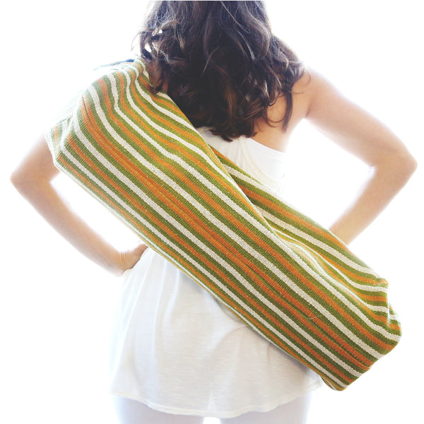 Yoga Bag - 1-Zip Style - Handwoven in White, Green Orange Stripes - WINTER SALE