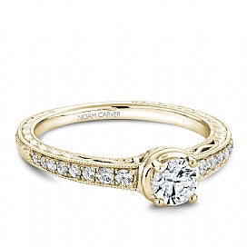Noam Carver - Diamond Round Engagement Ring w/ Side Diamonds in Yellow Gold (BAND SOLD SEPARATELY) - Nasselquist Jewellers