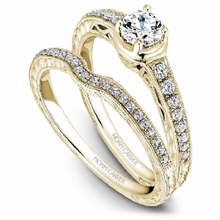 Load image into Gallery viewer, Noam Carver - Diamond Round Engagement Ring w/ Side Diamonds in Yellow Gold (BAND SOLD SEPARATELY) - Nasselquist Jewellers