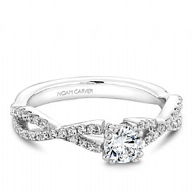 Noam Carver - Round Diamond Engagement Ring w/ Side Diamonds (BAND SOLD SEPARATELY) - Nasselquist Jewellers
