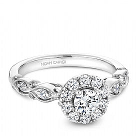 Noam Carver - Round Halo w/ Side Diamonds Engagement Ring (BAND SOLD SEPARATELY) - Nasselquist Jewellers