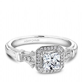 Noam Carver - Halo Princess Engagement Ring (BAND SOLD SEPARATELY) - Nasselquist Jewellers