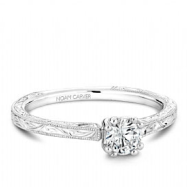 Noam Carver - 14KW Diamond Solitaire Engagement Ring with Vintage Detail (BAND SOLD SEPARATELY) - Nasselquist Jewellers