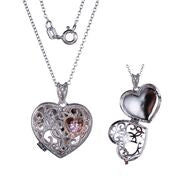 Reign - Silver Filligre Heart Locket Pendant - Nasselquist Jewellers