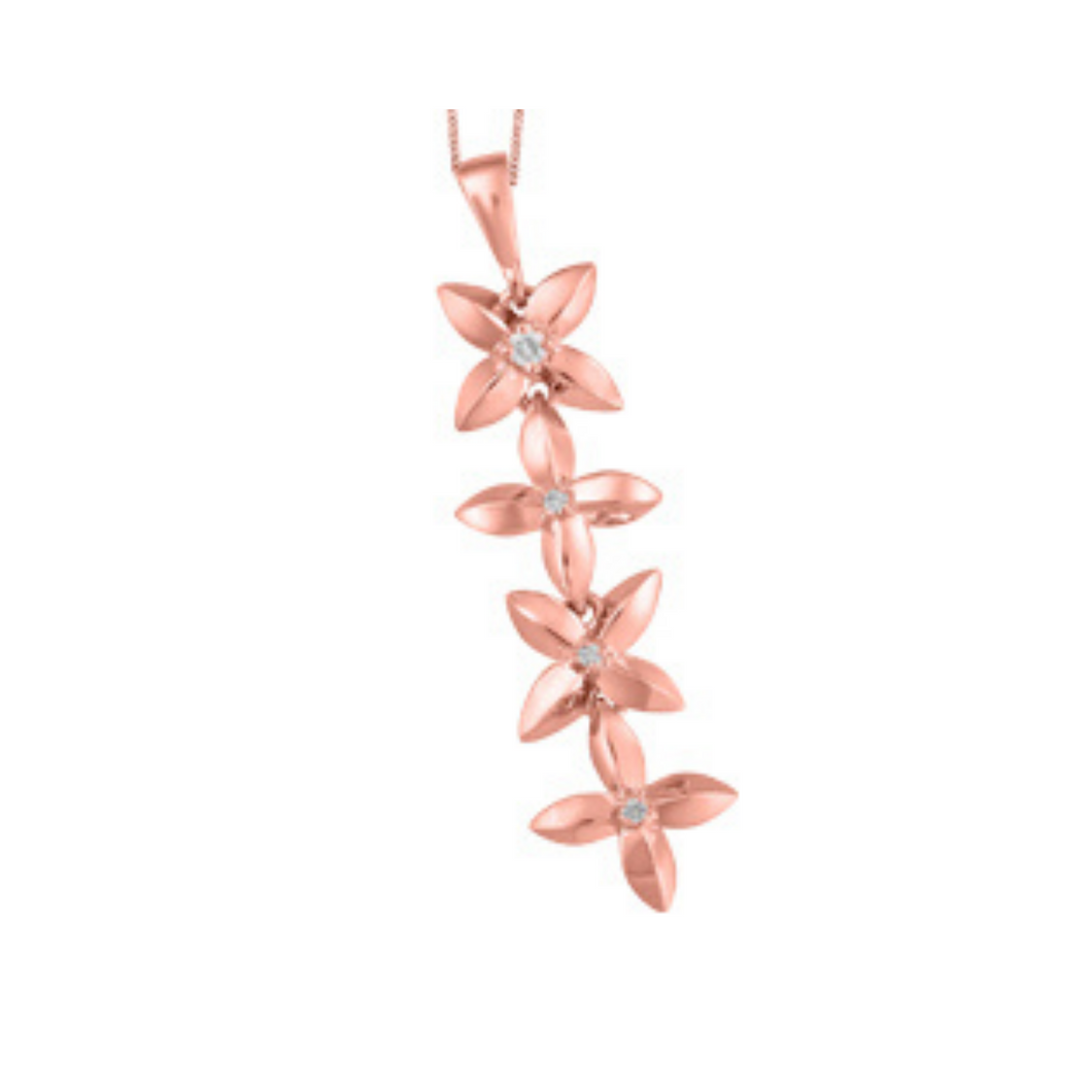 Rose Gold Flower Pendant with Diamonds