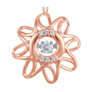 Rose Gold Spiral Star Pendant with Diamonds