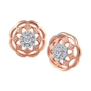 Round Rose Gold Earrings with Diamond on Post