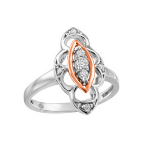 White & Rose Gold Ring with Diamond
