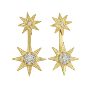 Yellow Gold Star Drop Earrings
