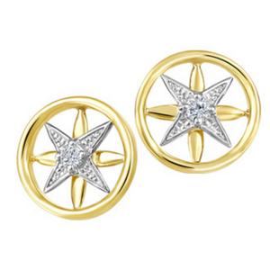 Yellow & White Gold Star Earrings