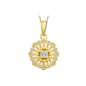 Yellow Gold Sun Pendant with Diamonds
