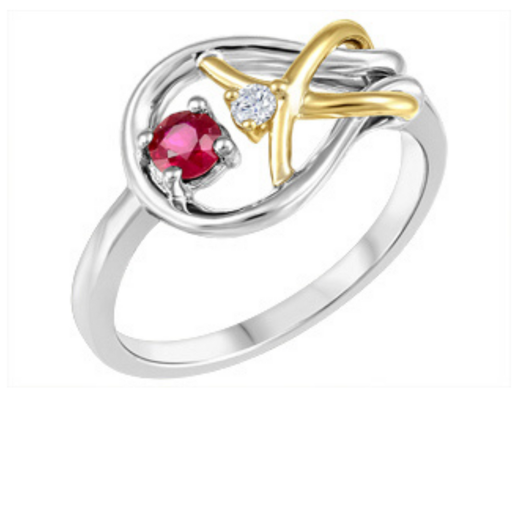 Ruby Ring with Canadian Diamond in Silver and 10k Yellow Gold - Nasselquist Jewellers