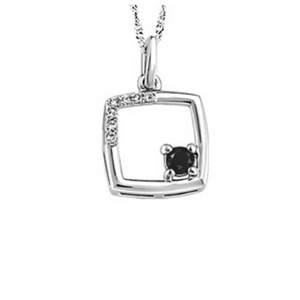 Square Pendant with Black and White Diamonds - Nasselquist Jewellers