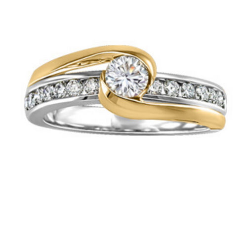 Two Tone Round Canadian Diamond Engagement Ring - Nasselquist Jewellers