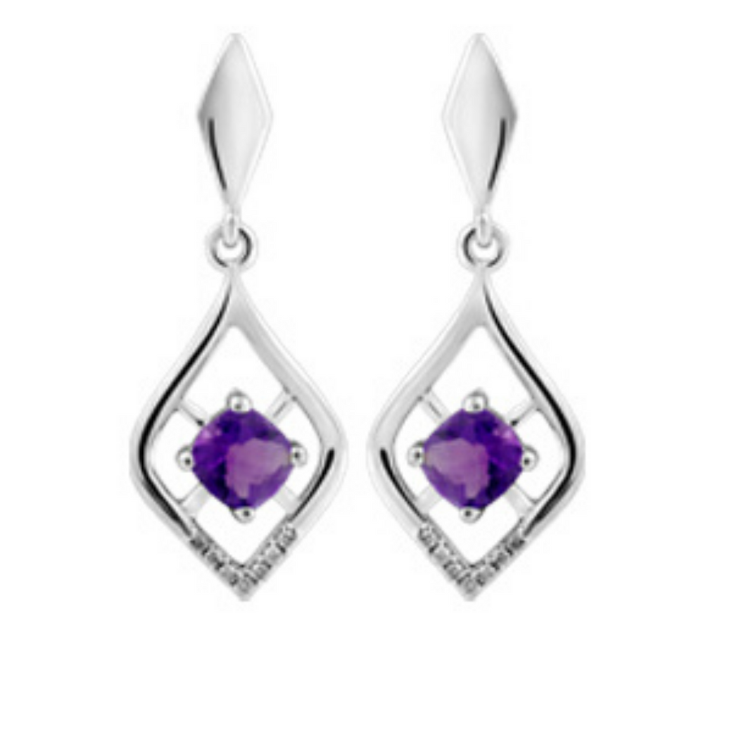 White Gold, Diamond & Amethyst Earrings - Nasselquist Jewellers