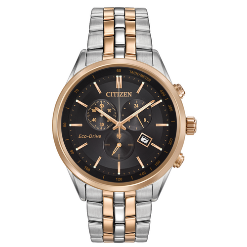 Citizen Eco Drive Corso Mens Two Tone Stainless and Rose Watch with Black Face