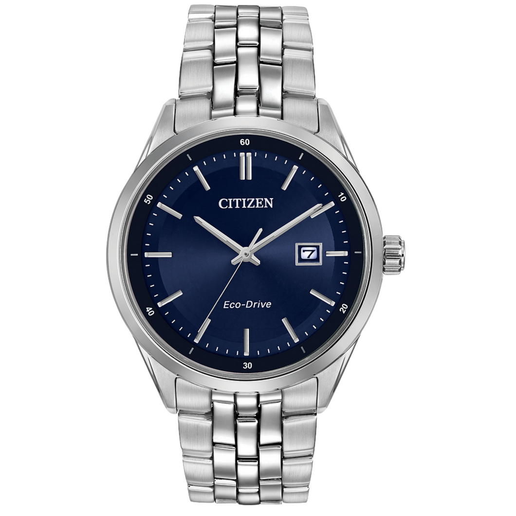 Citizen Eco Drive Corso Mens Watch. Stainless band blue face