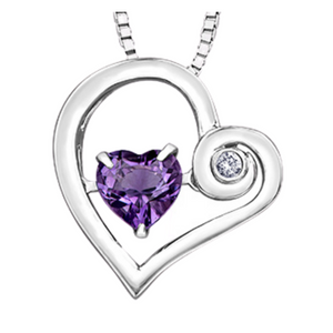 Silver Heart Pendant with Amethyst and Diamond