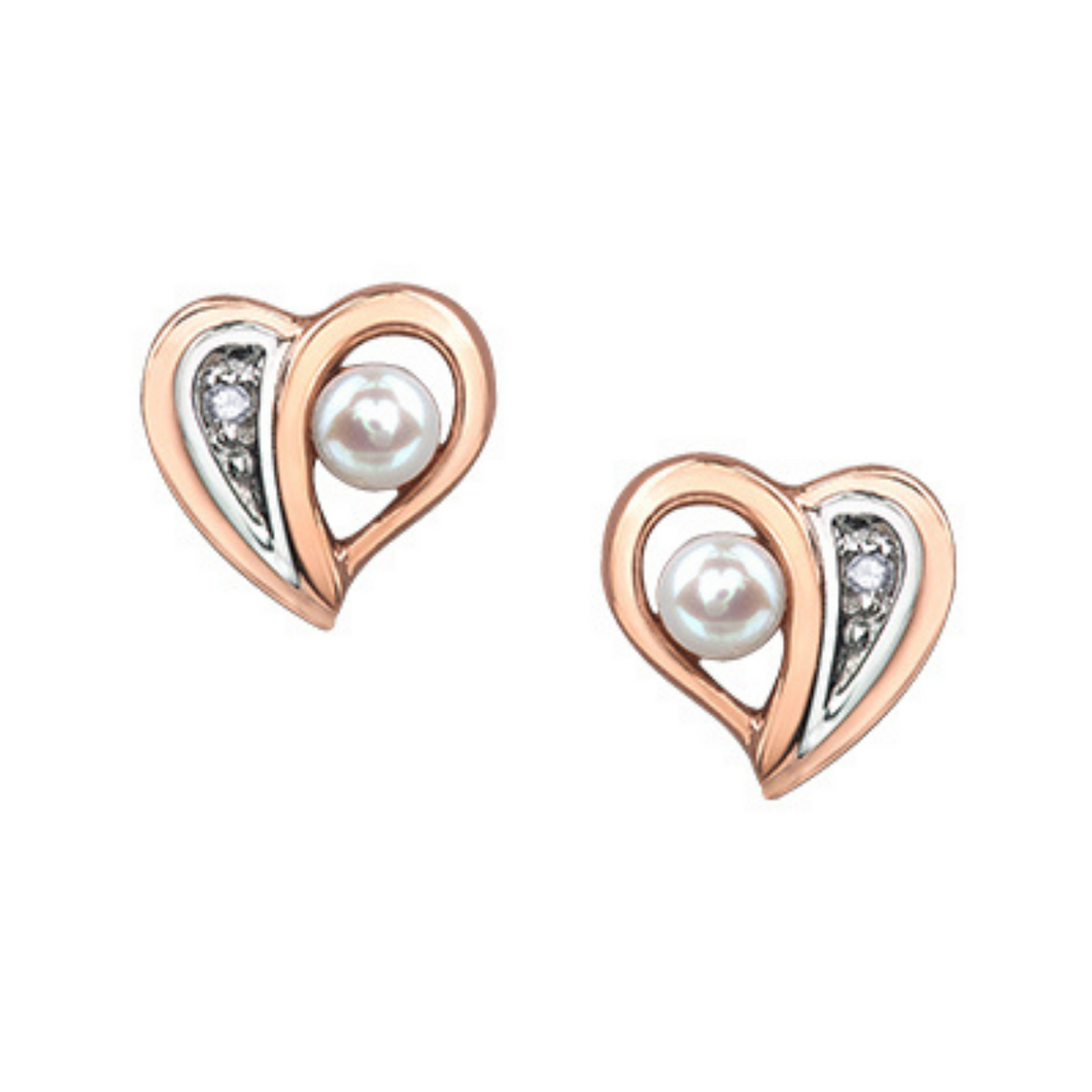 Rose Gold Heart Shaped Earrings with Pearl & Diamond