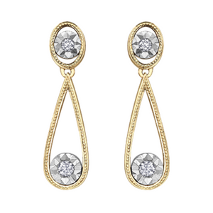 Illuminaire Diamond & Gold Drop on Post Earrings