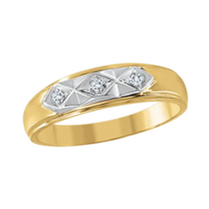 Mens Yellow Gold Band with Diamonds