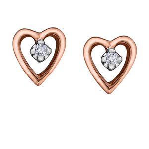Rose Gold Heart Shaped Stud Earrings
