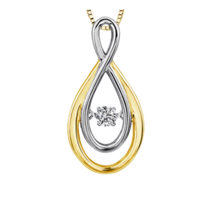 Yellow & White Gold Infinity Dancing Diamond Pendant