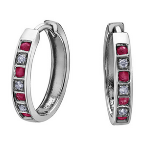 Gemstone & Diamond Huggie Earrings