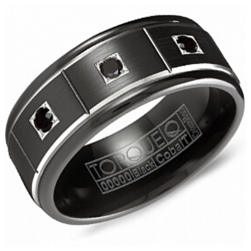 Black Cobalt Alternative Metals Mens Band with Black Diamonds - Nasselquist Jewellers