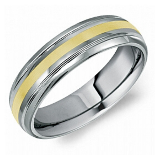 Tungsten Alternative Metal Band with 10k Yellow Inlay - Nasselquist Jewellers