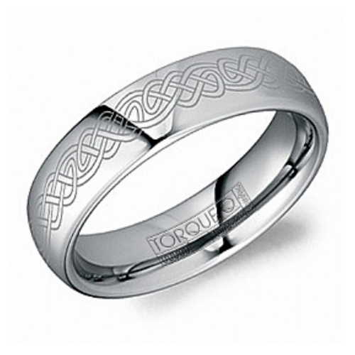 Tungsten Carbide Alternative Metal Mens Band with Celtic Detail - Nasselquist Jewellers