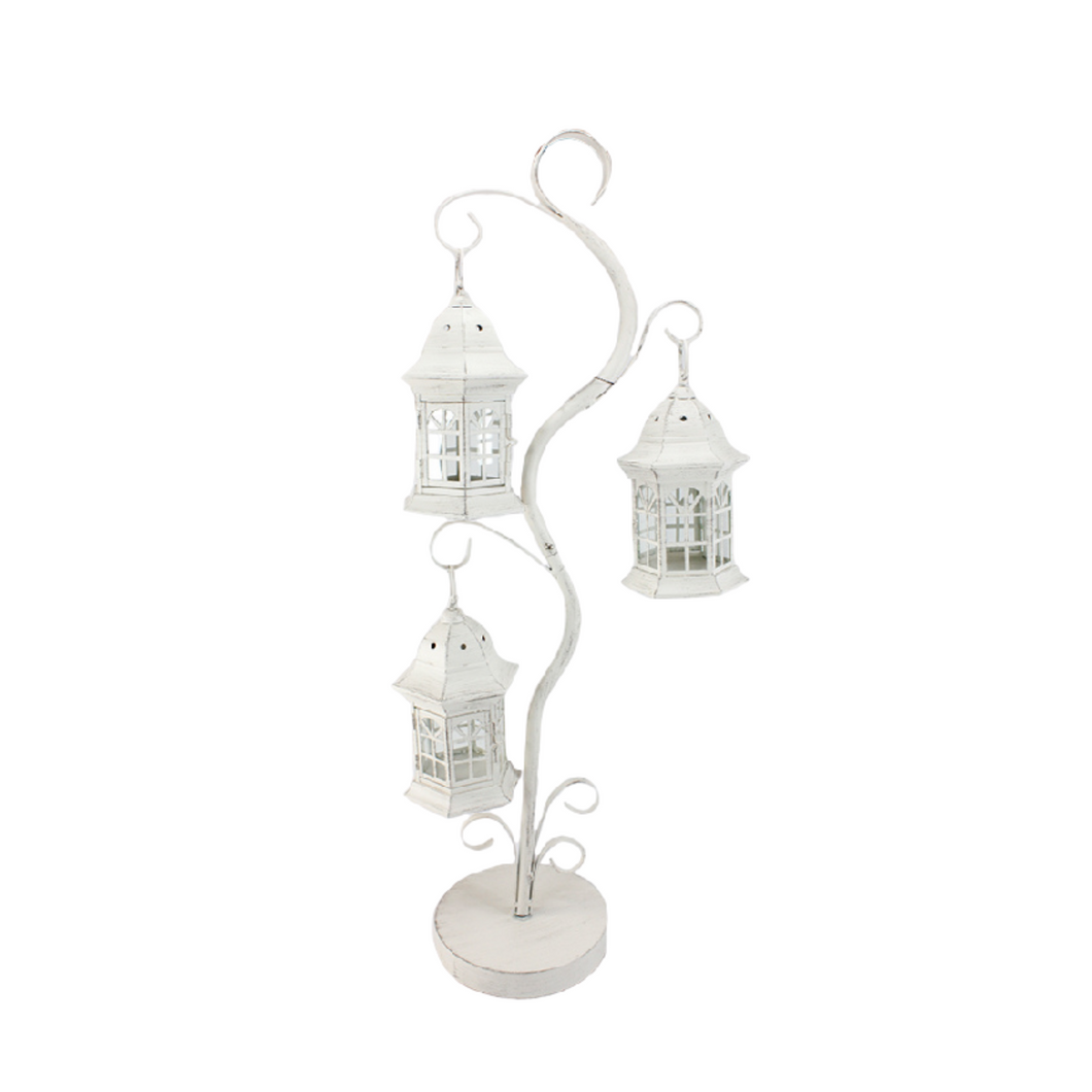 Antique White 3 Lantern Small