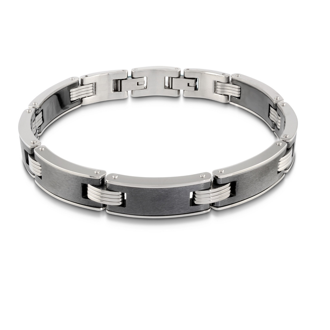 ITALGEM - Brushed Steel White Edge Bracelet