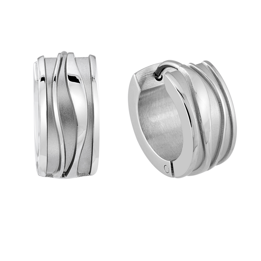 ITALGEM - Stainless Steel 3 Wave Groove Satin Raised Strips Huggie Earrings