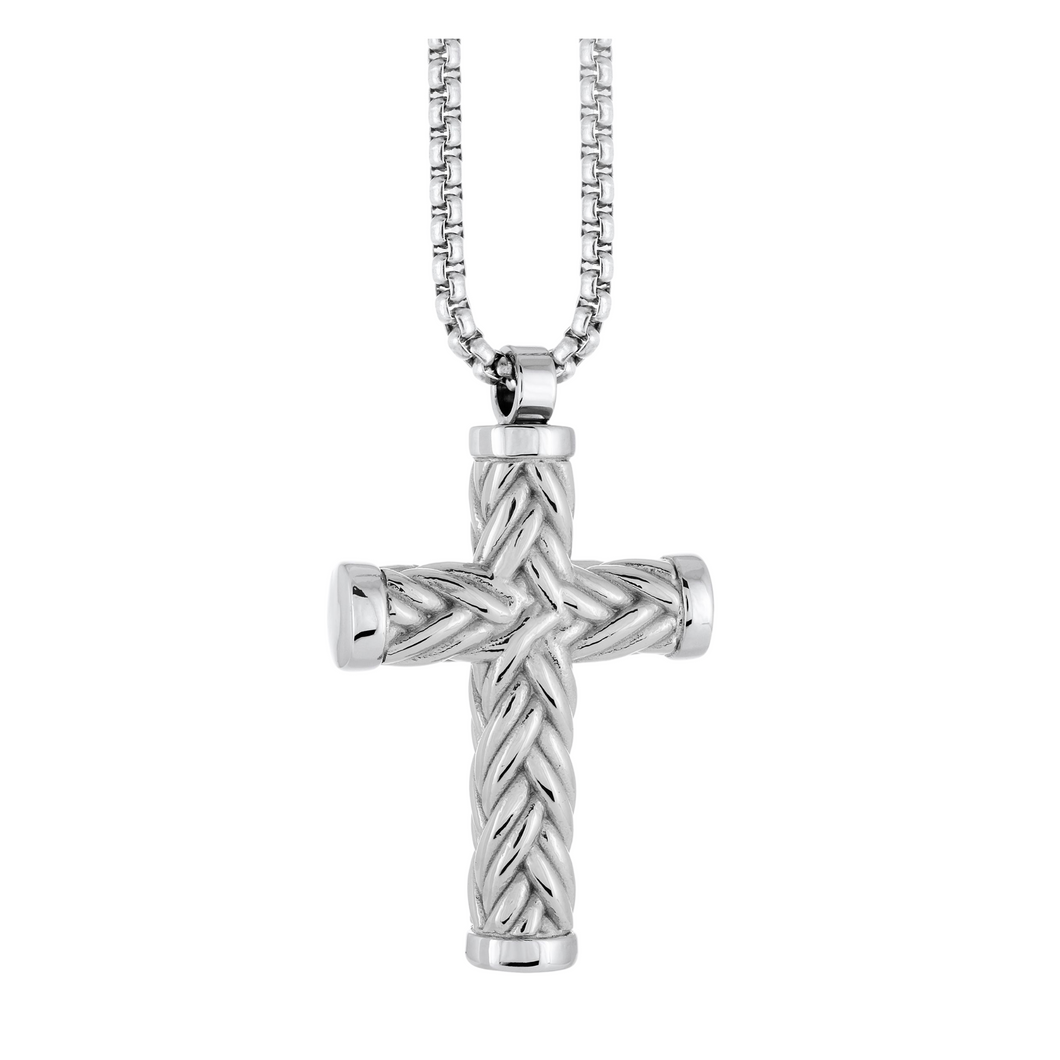 ITALGEM - Stainless Steel Weave Design Cross with 22
