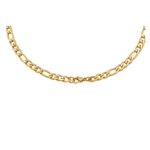 "ITALGEM - Stainless Steel Yellow Polished 22"" Figaro Chain"