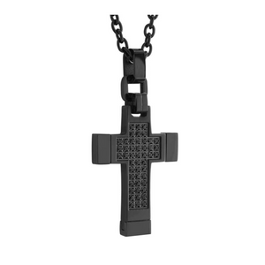 ITALGEM - Black Steel Cross with Black Cubic
