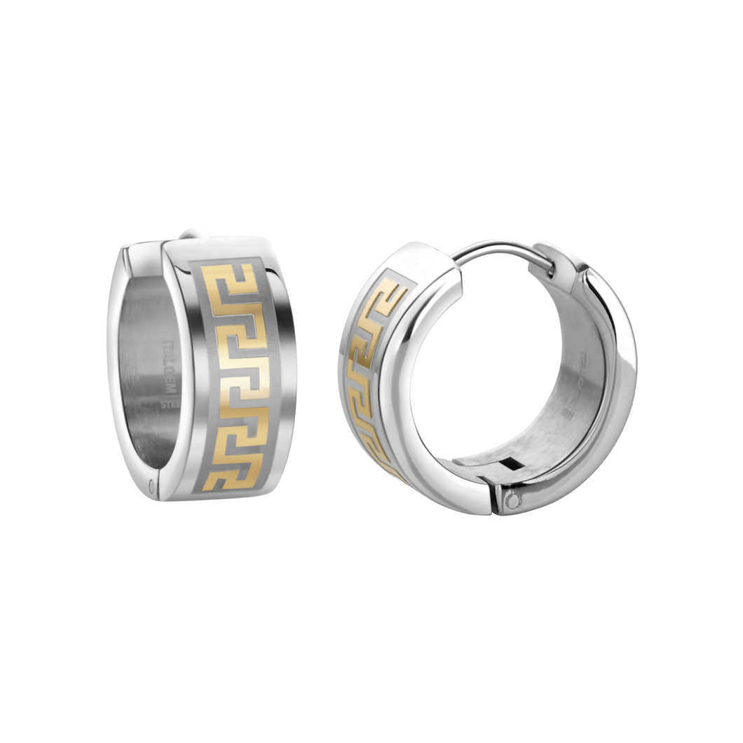 ITALGEM - Stainless Steel 17.5mm Greek Key Huggie Earrings