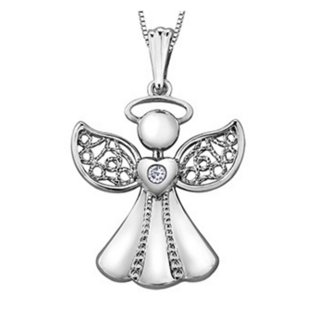 Angel Pendant in White Gold