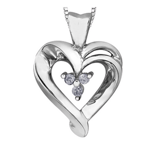Fancy Heart Shaped Pendant with 3 Diamonds