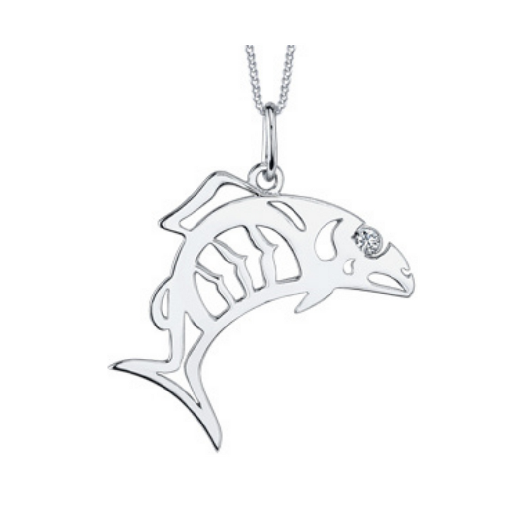 Fish Pendant in White Gold with Diamond