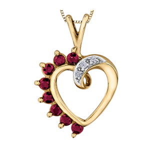 Forever Jewellery - Gemstone & Diamond Heart in Yellow Gold