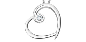 Simple White Gold Heart Pendant with Diamond